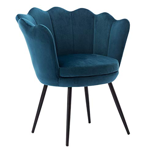 Velvet Accent Chair for Living Room/Bed Room, Upholstered Mid Century Modern Leisure Arm Chair with Black Metal Legs, Guest Chair, Vanity Chair – Blue Green
