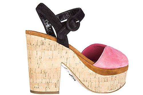 Prada sandales femme à plateforme en daim rose