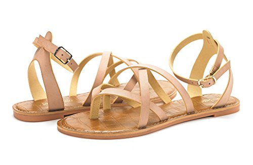 DREAM PAIRS Womens Slim Ankle Straps Flat Sandals Nude Wr6vHY