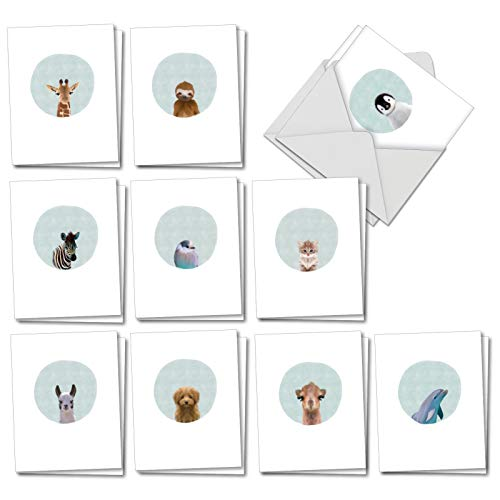 Animal Portrait Mode: 20 Assorted Blank All Occasions Greeting Cards Featuring Delicate Renderings of Animals against Circular Backgrounds, with Envelopes. AM7182OCB-B2x10 ()