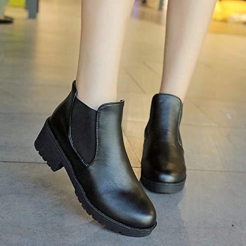martin inverno a medio scarpe stivali black KOKQSX studentesse solo autunno fondo 36 stivali 4cm e gli nero piatto 40 Sq1HCz