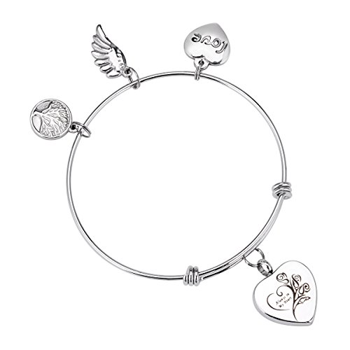 Engraved Always in my heart Memorial Urn Bracelet Tree of Life Angel Wing LoveHeart Cremation Urn Bracelet Jewelry Adjustable
