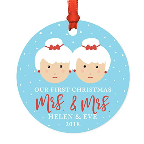 Andaz Press Personalized Lesbian Couple Wedding Metal Christmas Ornament, Our First Christmas as Mrs. & Mrs. 2019, Santa and Mrs. Claus with Elf, 1-Pack, Includes Ribbon and Gift Bag, Custom Name -  APP12195