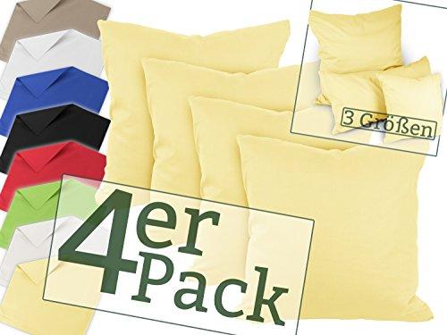 Vierer-Pack zum Super-Preis! Renforcé-Kissenbezüge aus 100% Baumwolle - schlicht und edel im Design, universell einsetzbar und kombinierbar - in 8 Uni-Farben, 40 x 40 cm, gelb