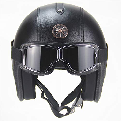 Price comparison product image yaning Helmets PU Leather 3 / 4 Motorcycle Chopper Bike Helmet Vintage Motorcycle Helmet with Goggle mask