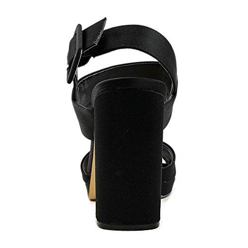 negro Black Toe 9 Open Size Casual Slingback Athena Nina Womens 0 Sandalias Fabric vqIT778