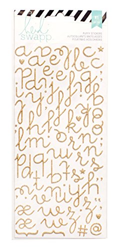 American Crafts 312252 Heidi Swapp Specialty Stickers, Puffy Alphabet, Gold Glitter
