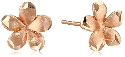 Gold Satin Flower Stud Earrings