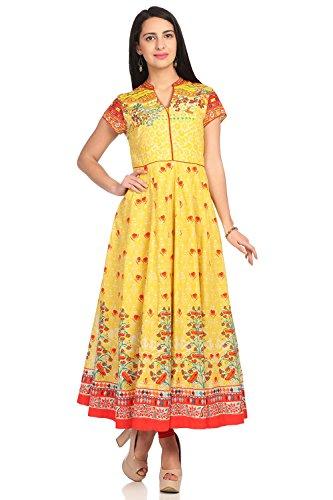 BIBA Women's Yellow Anarkali Cotton Kurta Size 32