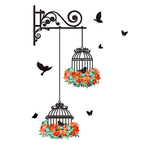 Normal Long Cage (Plane Wall Sticker, Fheaven Waterproof Environmental Protection Birdcage Decorative Painting Bedroom Living room TV Wall Decoration Wall Stickers Mural 56X76cm)