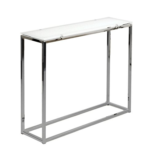 Euro Style Sandor Pure White Glass Top Console Table, Chromed Steel Base