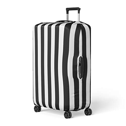 Pinbeam Luggage Cover Minimal Awning Stripe Black and White Line Pattern Travel Suitcase Cover Protector Baggage Case Fits 18-22 inches