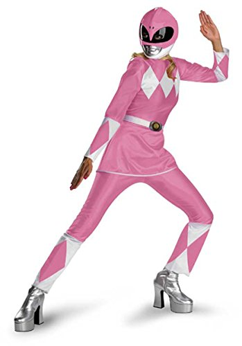 [Disguise Unisex Adult Deluxe Power Ranger, Pink/White, Large (12-14) Costume] (White Ranger Adult Costumes)