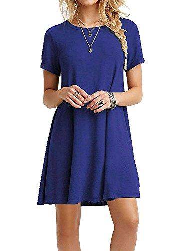 HPYLove Women's Summer Casual Plain Short Sleeve Cute Swing T-Shirt Loose Dress (Royal Blue, Medium) by HPYLove