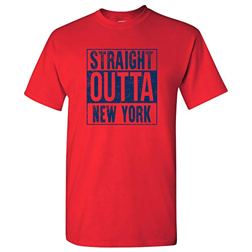 Straight Outta New York - New York Football T Shirt - 2X-Large - Red
