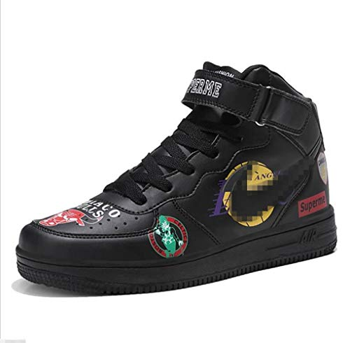 - SHANGWU Men's Daily Casual High-top Sneakers Ms. Increase Height Hip Hop Graffiti Air Force 1 Shoes Couple Veneer Shoes (Color : Black, Size : 43)