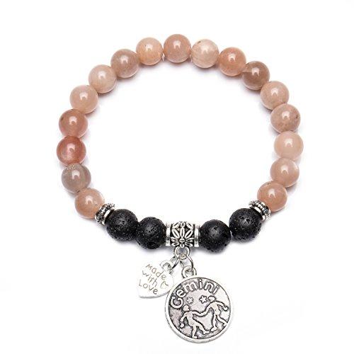 Bivei Retro 12 Zodiac Sign Bracelet Constellation Lava Stone Essential Oil Diffuser Healing Crtystal Gemstone Beaded Charm Bracelet(Antique Silver Gemini)