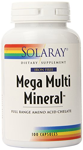 Solaray Mega Multi Mineral Iron-Free Vitamin Capsules, 100 Count