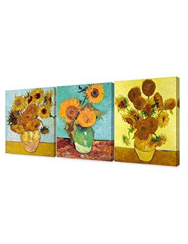 DECORARTS - Triptych (Van Gogh Sunflowers Series), Vincent Classic Art Reproduction. Giclee Canvas Prints Wall Art for Home Decor 16x20, 3pcs/Set