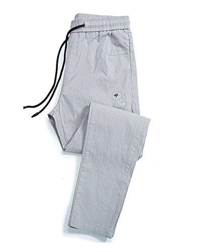 De para Elastica Lino Cintura Casual Pantalones Rucio AnyuA Slim Jogging Hombre con 5wnqxCxRH