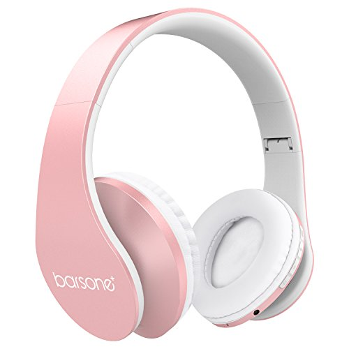 Barsone Over Ear Bluetooth Headphone Foldable Stereo Wireless Headset with Mic/TF Card and Wired Mode for PC/ Cell phones( Rose Gold)
