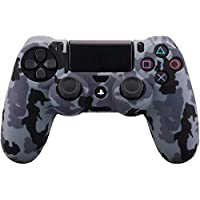Water Transfer Printing Camouflage Silicone Cover Skin Case for Sony PS4/slim/Pro controller x 1(snow) With Pro thumb grips x 8
