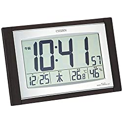 Rhythm Clock CITIZEN (Citizen) wall clock table clock combined Pal digit combination R096 temperature display humidity display digital radio clock 8RZ096-023