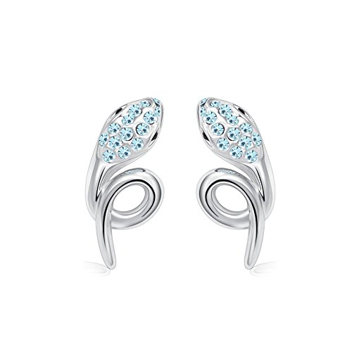 Winter's Secret Silver Diamond Accented Stereoscopic Auspicious Snake Blue Crystal Stud Earring