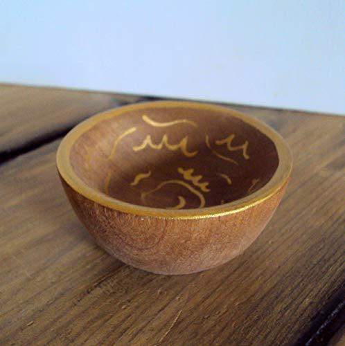 8df965f8ba Amazon.com: Tiny Wooden Ring Dish - Gold Handpainted Ring Holder -  Miniature Wood Tray - Earring + Pin Catchall - Jewelry Trinket Bowl:  Handmade