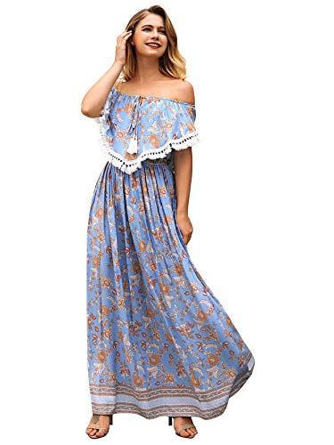 Fringe Shift Dress - Milumia Women Off Shoulder Floral Print Tassel Trim Flounce High Waist Summer Beach Maxi Dress XL