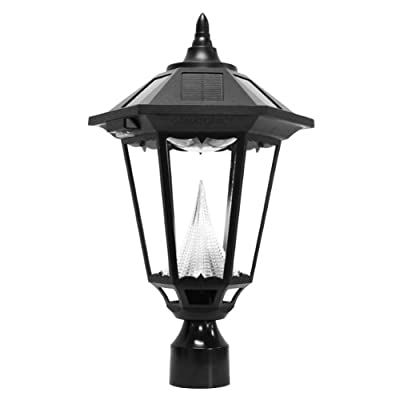 Gama Sonic Windsor Solar Outdoor LED Light Fixture, 3-Inch Fitter for Post Mount, Black Finish #GS-99F