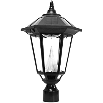 Gama Sonic Windsor Solar Outdoor LED Light Fixture, 3 Inch Fitter For Post  Mount, Black Finish #GS 99F