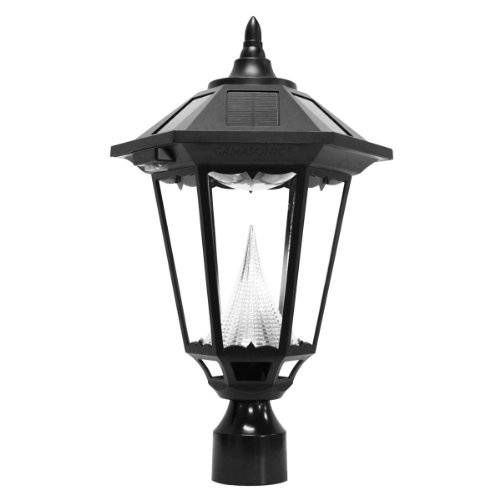 Gama Sonic Windsor Solar Outdoor Post Light - Black Finish G