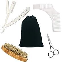 Beard Grooming Kit for Men Care - Beard Kit Including Beard Brush, Beard Comb, Barber Scissors, Beard Shaping Tool and Razor Blades (Simple Set)