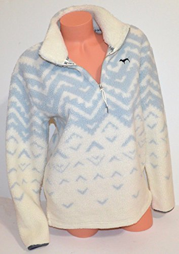Victoria's Secret PINK Pullover Sherpa Boyfriend Geometric Sweater Half Zip (Extra Small) by Victoria. Secret.