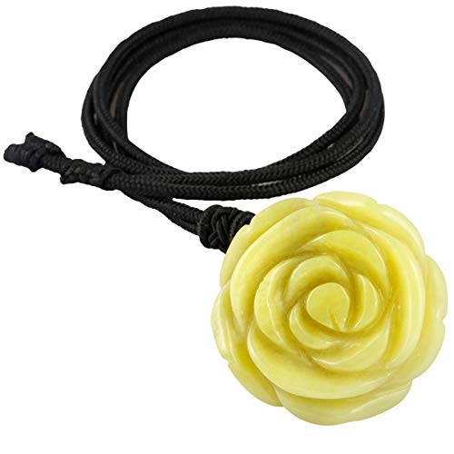 TUMBEELLUWA Crystal Flower Necklace Carved Floral Pendant with Cord Healing Stone Jewelry for Women,Rose,Lemon Jade