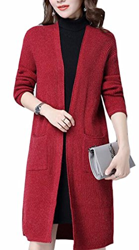 Womens Cable TTYLLMAO Sleeve Cardigan Sweater Solid 1 Fashion Long Outwear Knit FxA4wAHUqd