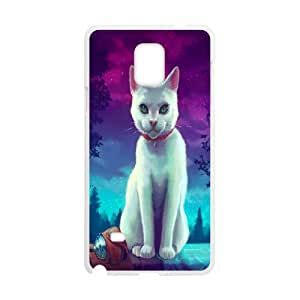 Samsung Galaxy Note 4 Case Painted Cat, [White]