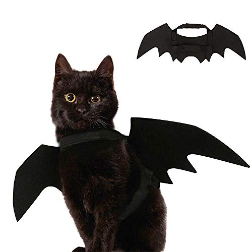 Ausein Halloween Pet Bat Wings Costume for Cat Dog, Cat Kitty Bat Wings Costume Dress up Cat Kitty for Halloween Festival- Black -