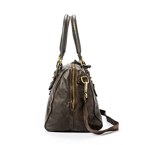 Ira del Valle, Damenhandtasche in Vintage-Leder, Made in Italy, Modell Tasche Cordoba, große Tasche und Schultergurt mit Schultergurt für Mädchen Braun