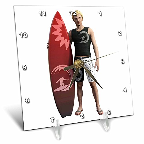 3dRose Boehm Graphics Sports - Surfer Standing with his Surfboard - 6x6 Desk Clock (dc_274672_1) (Wall Surfboard Shelf)