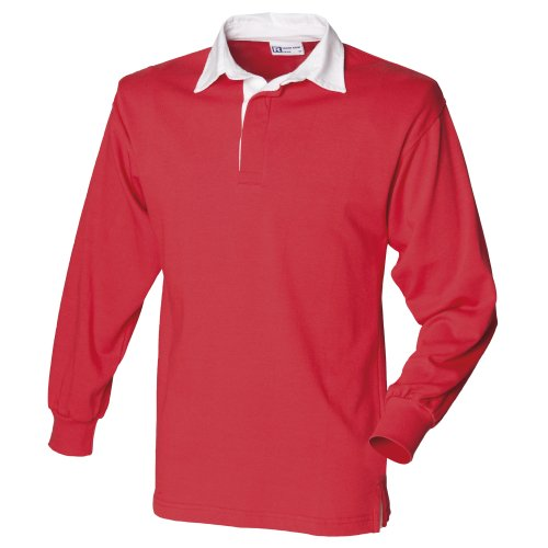 Front Row Long Sleeve Plain Rugby Shirt Red/White 2XL