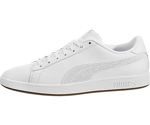 PUMA Men's Smash v2 Lthr Sneaker, White, 8.5 M US
