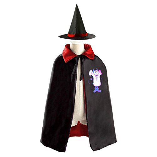 DIY Bendy?And?The?Ink?Machine light Costumes Party Dress Up Cape Reversible with Wizard Witch Hat