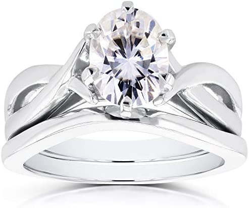 Kobelli Near-Colorless (F-G) Oval Moissanite Solitaire Crossover Bridal Set 1 1/2 CTW in 14k White Gold