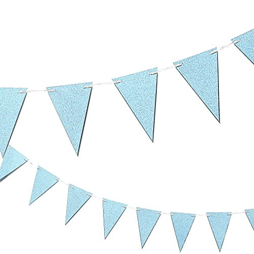 Happy Birthday Banner Triangle Garland - Elegant Party Bunting Flags Decorations Birthday Party Supplies, Blue