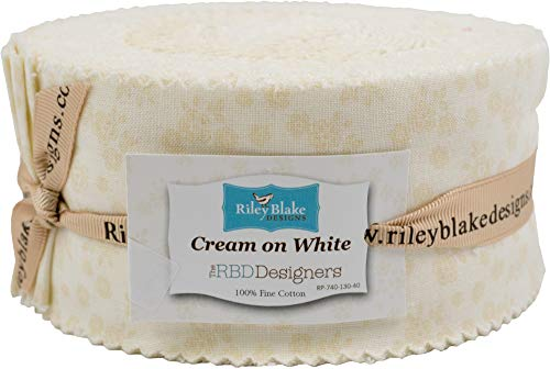Cream on White Calico White Rolie Polie 40 2.5-inch Strips Jelly Roll Penny Rose Fabrics