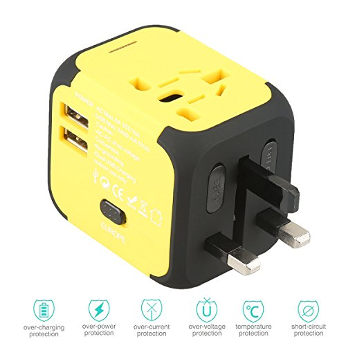 Universal Travel Adapter,All-in-one Worldwide Travel Chargers Adapters for US UK AU EU with Dual USB Charging Ports Universal AC Socket - Safety Fused(yellow)