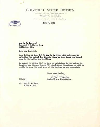 Amazon.com: 1937 Chevrolet School Bus Chassis Factory Letter ...