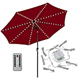 Patio LED Umbrella String Lights,104 LEDs 8 Lighting Mode with Remote Control Umbrella Lights Battery Operated Waterproof Outdoor Lighting for Patio Umbrellas Outdoor Use Camping Tents (Warm White)